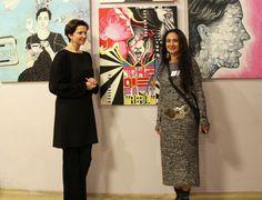 Mój obraz na wystawie MUZA :) ja i redaktor Naczelna Art Imperium Magdalena Wożniak
