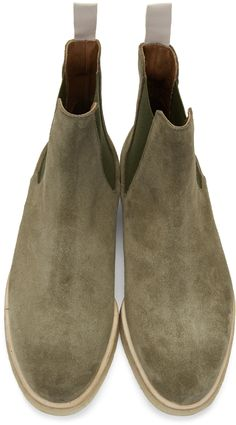 Common Projects: Green Suede Chelsea Boots | SSENSE
