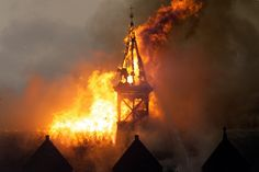 Morgan Academy, Dundee, Scotland.  The fire that gutted the school in 2001.  Burning clock tower.
