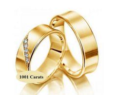 Alliances de mariage en or 18 cts et diamant.