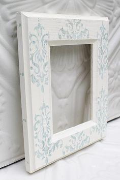 Hand Painted Frame,  Fleur De Lis Picture Frame, Shabby Chic, Cottage Chic Decor, Fleur De Lis Decor