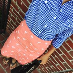 gingham button down + flamingo embroidered skirt {casual summer work wear}