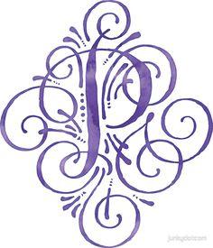 """Monogram Watercolor Purple P"" Stickers by junkydotcom   Redbubble"