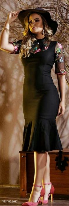 Vestido Elegante Boutique, Bonsai, Curvy, Pencil, Dresses With Sleeves, Stylish, Long Sleeve, Fashion, Classy Dress