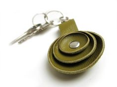 Olive green Leather key fob.  katrinshine  $21