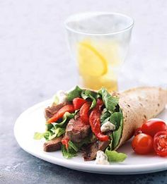 With blue cheese and grilled steak, this hearty wrap makes a satisfying dinner.