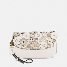 Coach Small Clutch With Tea Rose Applique ($295) ❤ liked on Polyvore featuring bags, handbags, clutches, rose wristlet, zip purse, wristlet clutches, leather clutches and wristlet purse