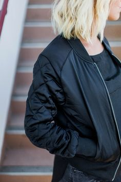 Black bomber jacket- for a little edge in  your wardrobe//
