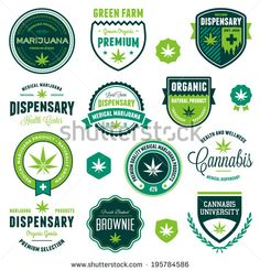 Set of marijuana pot product labels and graphics by Mike McDonald, via Shutterstock. Cannabis and dispensary badges and logos.