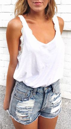 #Summer #Outfits / Denim Short Shorts + White Top