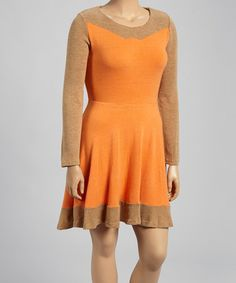Orange & Camel A-Line Sweater Dress - Plus #zulily #zulilyfinds