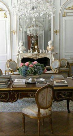 elegant French desk / living room draperies for this style: DesignNashville shipping to you