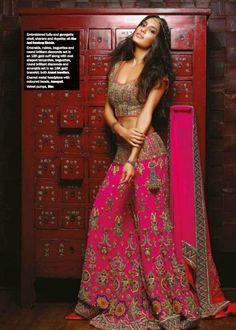 Sharara by Abu Jani-Sandeep Khosla. Lisa Haydon's Photoshoot for Noblesse magazine