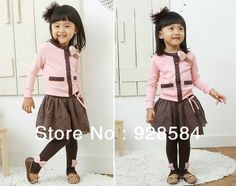 Free shipping Wholesale 2014 spring Fashion children's clothing sets baby girls suit long sleeve t-shirt tops+bowknot lace skirt