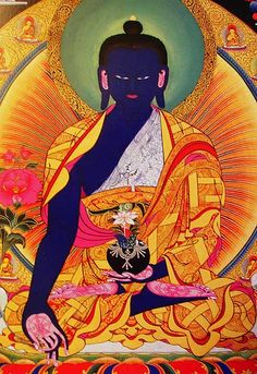 """The Medicine Buddha  """"If one meditates on the Medicine Buddha, one will eventually  attain enlightenment, but in the meantime one will experience an increase in  healing powers both for oneself and others and a decrease in physical and mental  illness and suffering.""""  —Lama Tashi Namgyal"""
