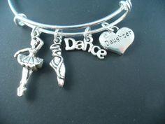 Ballerina / Dance Theme  Silver Bangle Bracelet by DesignsBySuzze