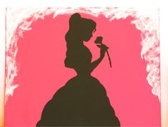 BEAUTY & THE BEAST Silhouette Disney Princess Belle Handmade Painting on 11x14 Canvas Panel via Etsy
