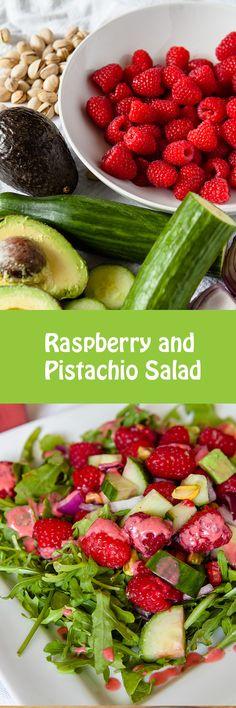 Raspberry and Pistachio Salad #Vegan #Salad #Raspberries #Pistachios #Avocado