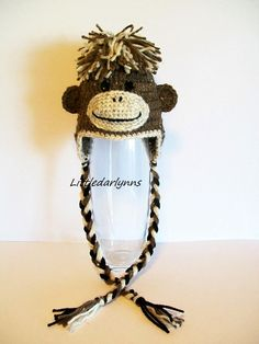 Brown Monkey Hat with Earflaps - Crochet Monkey Hat -  Monkey Beanie.