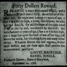 Reward money for run away slave