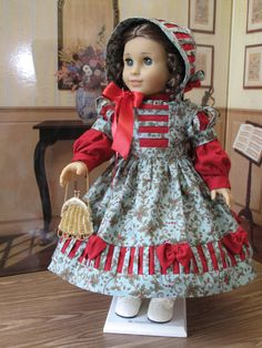 Holiday Ensemble 5 pc for Marie-Grace: Dress, Bonnet, Crinoline, Pantalettes, and Reticule by blinkersoh on Etsy  $125.00