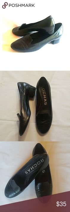 "Rochas Black Leather Flats Timeless black smooth leather Rochas flats perfect for  every occasion. Very practical and look great with any outfit. 1 1/4"" heel with very little wear. Rochas Shoes Flats & Loafers"