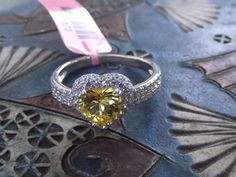 Simulated Yellow and White Diamond Sterling Silver Heart Ring (Size 8.0) #SolitairewithAccents