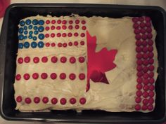 American/Canadian flag cake... all M and M's except maple leaf cut out