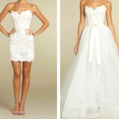 This is a detachable hem I love this idea for a long wedding dress for the ceremony and short for reception