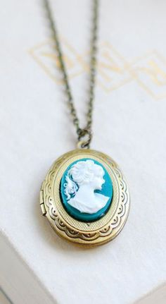 Teal Ivory Cameo Oval Locket Necklace