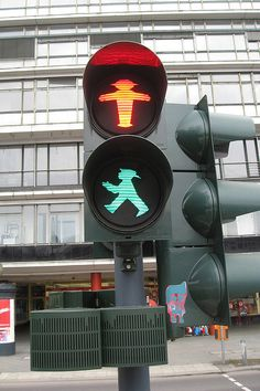 Berlin traffic lights. The Berliner Man! Started as the East German traffic lights. Ampelmann!
