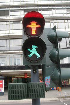 Berlin traffic lights.  The Berliner Man!  Started as the East German traffic lights.  Ampelmann!