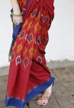 Red Uzbek Cotton Handwoven Ikat Saree from Ikatindia.com