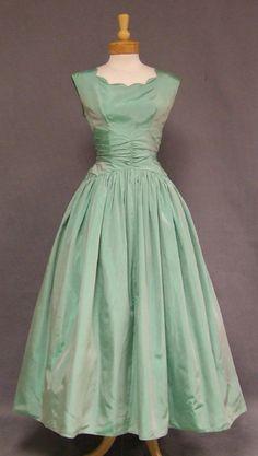 Emma Domb 1950's mint taffeta gown