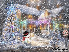 snowing Christmas victorian