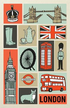 London illustration by Andrea Lauren Art Carte, British Things, London Art, London Icons, London Poster, London Life, London Calling, Vintage Travel Posters, British Isles