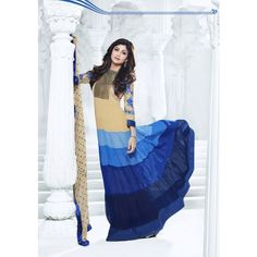 Shilpa Shetty Beige and Shaded Blue Georgette Anarkali Suits