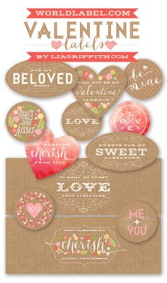Free printable labels for your Valentines sweat heart by @lia griffith These are really special :)