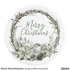 Shop Winter Wreath Poinsettia & Bird Christmas Paper Plate created by SpecialOccasionCards. Christmas Paper Plates, Special Text, Wreath Watercolor, Party Tableware, White Elephant Gifts, Poinsettia, Biodegradable Products, Christmas Holidays, Party Supplies