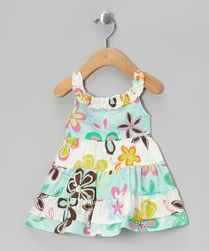 Take a look at this Aqua Floral A-Line Dress - Infant & Toddler by RJC Girls on #zulily today!