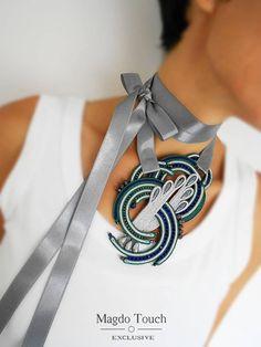Gray green soutache statement necklace large soutache