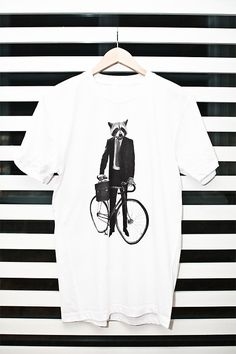 Fox with a bicycle t-shirts
