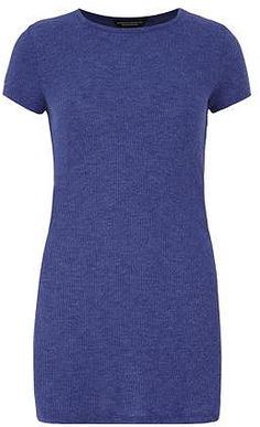Womens bluebell blue ribbed tunic top from Dorothy Perkins - £18 at ClothingByColour.com