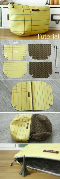 Cosmetic Pouch Bag Tutorial DIY A pouch for makeup and for me. (Lined Zippered Pouch / DIY Makeup Bag Pattern Sewing Hacks, Sewing Tutorials, Sewing Crafts, Sewing Projects, Sewing Patterns, Sewing Tips, Beginners Sewing, Bag Patterns, Diy Projects
