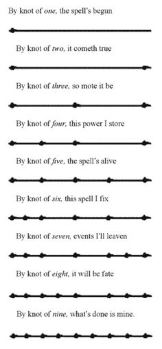 Witch's Ladder knot spell; beware, this is a potent spell! I use this one a lot for constructive Magic; the kind that summons/creates.