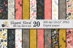 Seamless Elegant Floral Digital Paper, Hand Drawn Flowers - Gray Gold Coral  By VR Digital Design