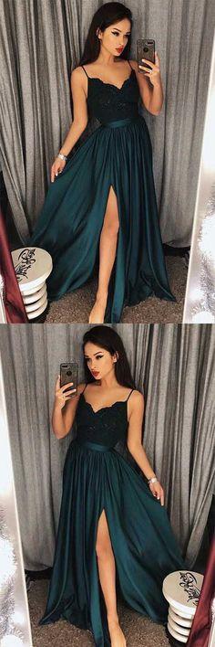 Sexy Dark Green V-Neck Lace Bodice Prom/Evening Dres Slit Side PG548 #prom #evening #dress #lace #darkgreen #pgmdress #slit #fashiondress #womenfashion #longprom #promgown #eveningown