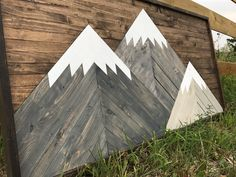 Mountain art created by a mountain man. Mountain Art, Three Sisters, Barn Quilts, All Over The World, Birch, Art Work, Ship, Mountains, Wood