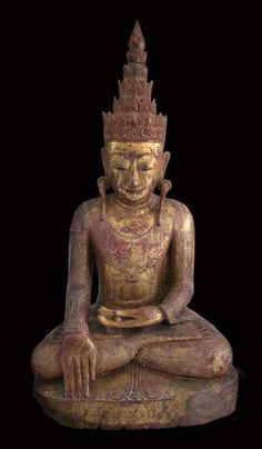 Shan Gilt Wood Sculpture of the Buddha Forming the Bhumisparsa Mudra - X.0567 Origin: Myanmar Circa: 18 th Century AD to 19 th Century AD
