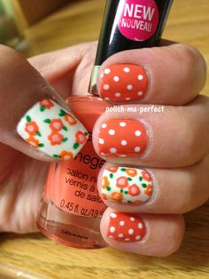 Polish Me Perfect: Orange Flowers and dots nail art. I would like it better with just the polka dots and not the flower nails. Get Nails, How To Do Nails, Hair And Nails, Dot Nail Art, Polka Dot Nails, Polka Dots, Creative Nail Designs, Creative Nails, Flower Nails